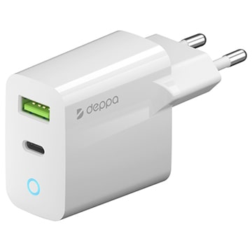 Сетевое зарядное устройство  Deppa D-11398  USB-C + USB A, PD 3.0, QC 3.0, 20Вт